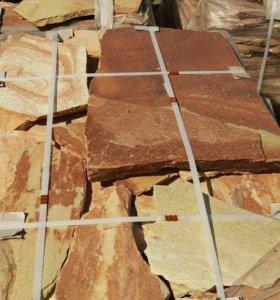 Кварцит башкирский желтый (плитняк) 1,5-2 см