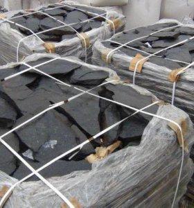 Сланец черный матовый для облицовки (плитняк)