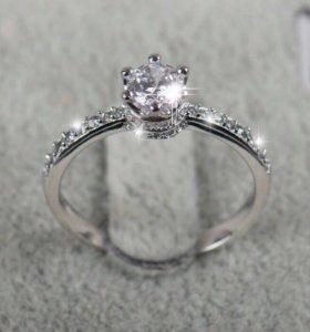Серебряное кольцо люкс с цирконом