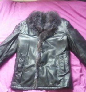 Кожаная куртка зимняя с мехом