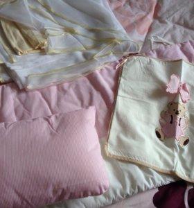 Матрасик, бортик для кроватки, подушечка, балдахин