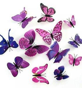 Бабочки на холодильник, вытежку и стены