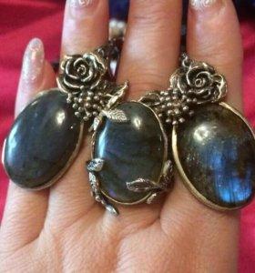 Комплект(кольцо 17 р-р+серьги) с лабрадором