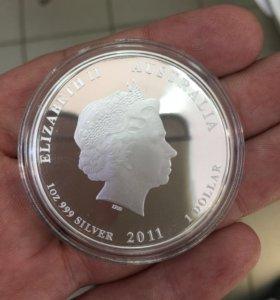 """Серебро монета """"Австралия доллар"""""""