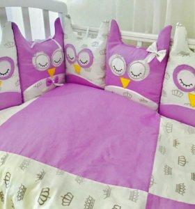 """Комплект в кроватку """"Совушки-2"""" фиолетовый"""