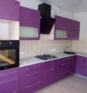 Кухонный гарнитур угловой фиолетовый