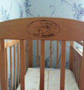 Кроватка+матрас+набор в кроватку с балдахином
