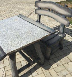 Стол и скамья