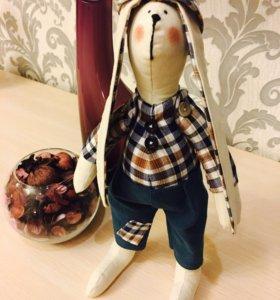 Интерьерная игрушка заяц в стиле тильда