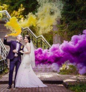 Цветные Дымовые шашки красивой свадьбы