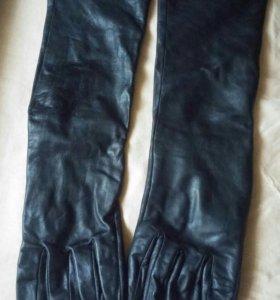 Перчатки длинные кожаные