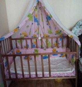 Детская кроватка+ Матрас+бортики и балдахин
