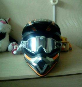 Шлем для мотокросса с очками размер М