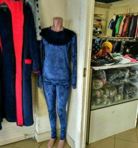 Бархатный костюм синий классный
