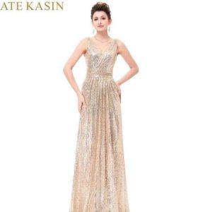 Вечернее длинное платье золотое в пайетках