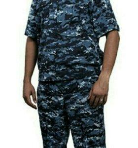 Костюм летний, ткань сорочка,цвет синяя цифра.