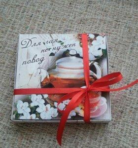 Коробка конфет с пожеланиями к чаю