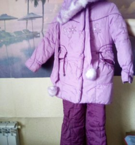 Зимний костюм(пальто+комбинезон)на девочку