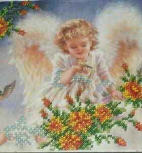 """Картина ручной работы из бисера """"Ангел"""""""