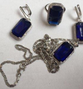 Синий камень комплект ювелирных изделий