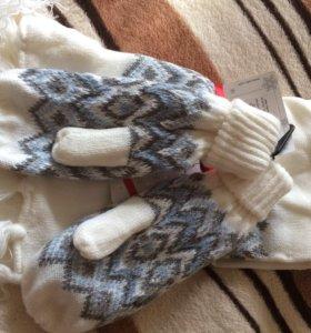 Комплект Новый варежки и шарф