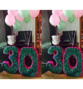 Цифра 30 объемная на день рождения, вечеринку.