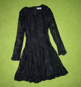Новое, черное, гипюровое платье, 44-46 размер