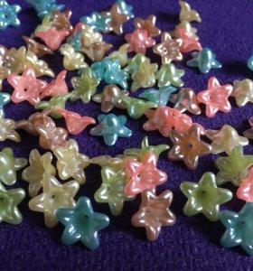 Цветочки декор лилии колокольчики бусины акрил