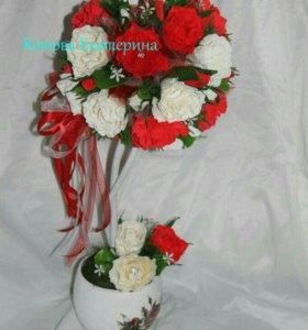 Топиарии из кофе или из цветов с конфетами