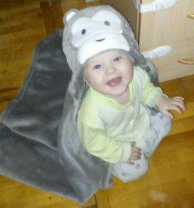 Плед детский с капюшоном