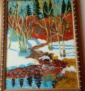 """Картина масло """"Весенний лес"""""""
