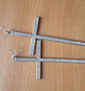 Серьги крест большие
