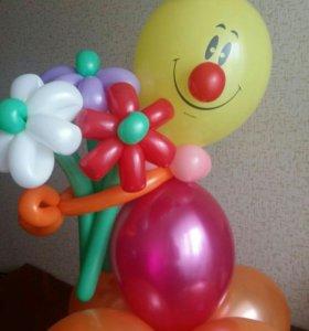 """Фигура из воздушных шаров """"Клоун с букетом"""""""