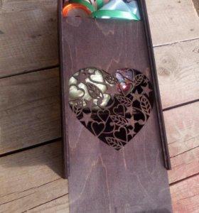 Шкатулка-пенал деревянная