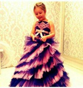 Платье пышное для девочки, фиолетовое с розовым.