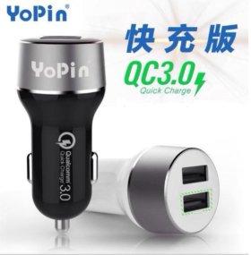 Зарядное автомобильное быстрое Usb 2x YoPin