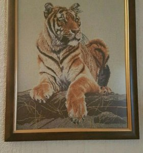Картина, вышивка крестом тигр