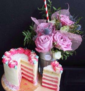 Набор Торт и Цветы