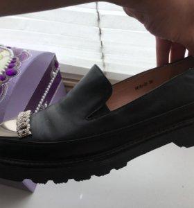 Кожаные ботинки/лоферы/Женская обувь