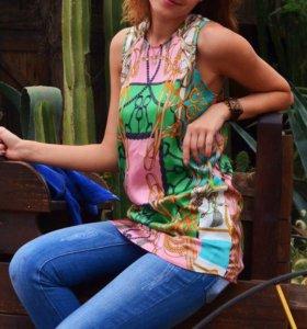 Блузка туника шёлковая