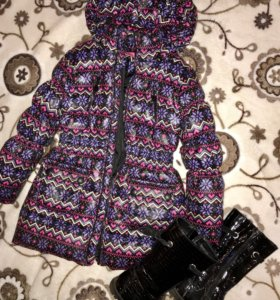 Куртка зимняя 134/140 р+ осенние сапожки 35р