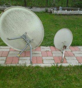 Спутниковые тарелки с прибором для настройки и гол