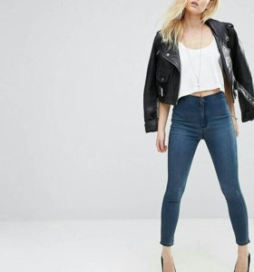 Темные джинсы с завышенной талией ASOS PETITE