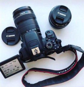 Зеркальный фотоаппарат canon 700d + 2 объектива