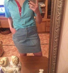Юбка джинсовая , блузка