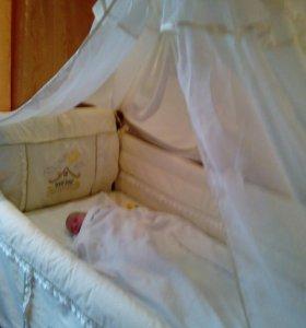 Комплект балдахин, бортики постельное белье