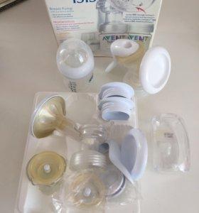 Молокоотсос авент + силиконовые накладки на грудь