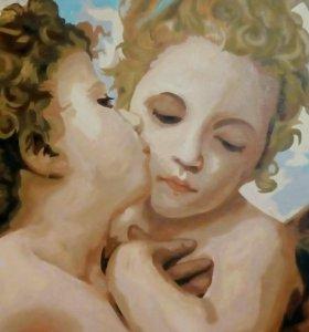 "Фрагмент картины ""Амур и Психея"" холст, акрил"