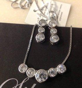 Комплект серебро 925 серьги подвеска цепочка