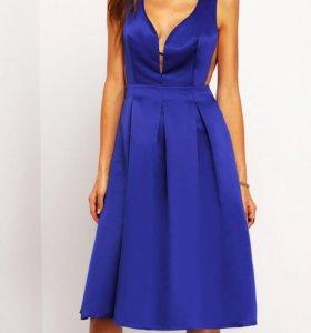 Тёмно-синее платье на выпускной